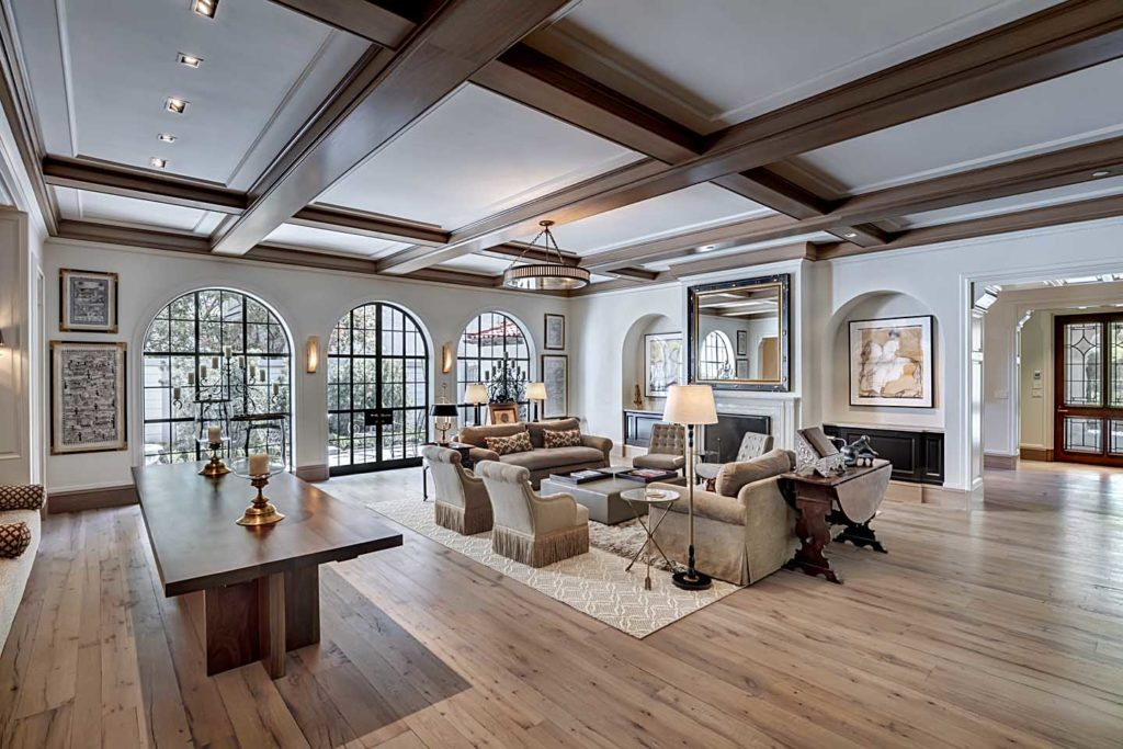 architect designed great room in greenway parks residence in dallas, texas